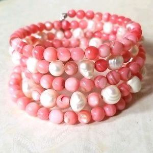 Freshwater Pearl and Coral Bead Wrap Bracelet